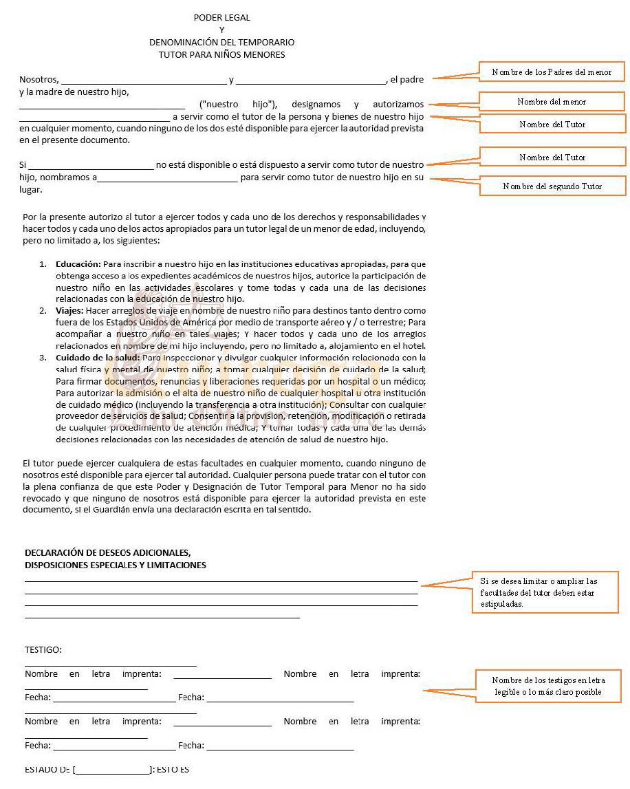 Poder De Custodia Temporal Quiroga Law Office Pllc